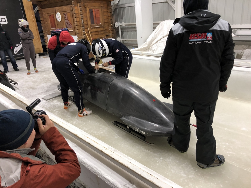 USA Bobsled Team prepares their sled for competition.